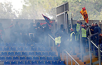 Calcio, Serie A: Roma-Genoa. Roma, stadio Olimpico, 12 gennaio 2014.<br /> Genoa and AS Roma fans clash prior to the start of the Italian Serie A football match between AS Roma and Genoa, at Rome's Olympic stadium, 12 January 2014. <br /> UPDATE IMAGES PRESS/Riccardo De Luca