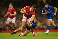1st February 2020; Millennium Stadium, Cardiff, Glamorgan, Wales; International Rugby, Six Nations Rugby, Wales versus Italy; Rhys Webb of Wales is tackled by Callum Braley of Italy