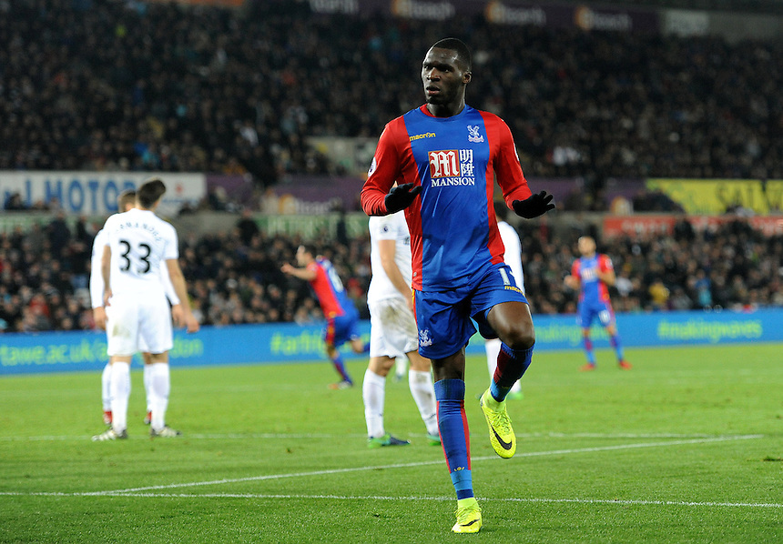 CELE - Crystal Palace's Christian Benteke celebrates scoring his sides fourth goal <br /> Photographer Ashley Crowden/CameraSport<br /> <br /> The Premier League - Swansea City v Crystal Palace - Saturday 26th November 2016 - Liberty Stadium - Swansea <br /> <br /> World Copyright &copy; 2016 CameraSport. All rights reserved. 43 Linden Ave. Countesthorpe. Leicester. England. LE8 5PG - Tel: +44 (0) 116 277 4147 - admin@camerasport.com - www.camerasport.com