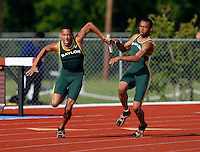 Courtney Thomas passing the baton to Trey Harts in the 400m Relay. Baylor won with a time of 39.68secs. @ the Michael Johnson Classic held @ Baylor Univ., on Saturday, April 21, 2007. Photo by Errol Anderson, The Sporting Image.