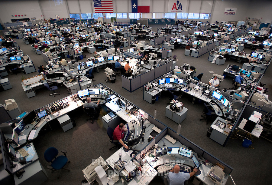 The Systems Operations Control Center for American Airlines near Dallas-Fort Worth International Airport (DFW) in Dallas, Texas, Friday, May 14, 2010. American plans all their daily flight routes at the center...PHOTO: MATT NAGER