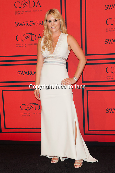 NEW YORK, NY - JUNE 3: Lindsey Vonn at the 2013 CFDA Fashion Awards at Lincoln Center's Alice Tully Hall in New York City. June 3, 2013. <br /> Credit: MediaPunch/face to face<br /> - Germany, Austria, Switzerland, Eastern Europe, Australia, UK, USA, Taiwan, Singapore, China, Malaysia, Thailand, Sweden, Estonia, Latvia and Lithuania rights only -