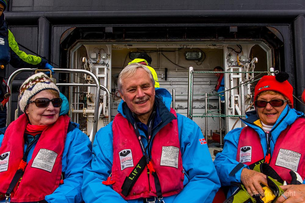 Antarctica expedition aboard the Hurtigruten FRAM ship. Passengers at Half Moon Island.