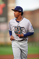 Northwest Arkansas Naturals second baseman Raul Mondesi (27) jogs to the dugout during a game against the Springfield Cardinals on April 26, 2016 at Hammons Field in Springfield, Missouri.  Northwest Arkansas defeated Springfield 5-2.  (Mike Janes/Four Seam Images)