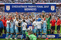 Coventry City platers celebrate winning the Trophy during the The Checkatrade Trophy / EFL Trophy FINAL match between Oxford United and Coventry City at Wembley Stadium, London, England on 2 April 2017. Photo by Andy Rowland.