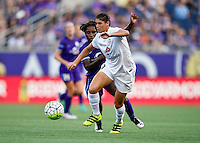 Orlando, FL - Saturday Sept. 24, 2016: Brittany Taylor, Jasmyne Spencer during a regular season National Women's Soccer League (NWSL) match between the Orlando Pride and FC Kansas City at Camping World Stadium.