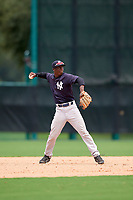 GCL Yankees West shortstop Sincere Smith (3) throws to first base during the second game of a doubleheader against the GCL Braves on July 30, 2018 at Champion Stadium in Kissimmee, Florida.  GCL Braves defeated GCL Yankees West 5-4.  (Mike Janes/Four Seam Images)