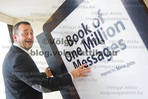 Official presentation of the Book of One Million Messages a way of saying thank you for late Apple CEO Steve Jobs for his work in Budapest, Hungary on February 24, 2012. ATTILA VOLGYI