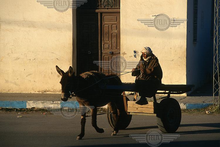Man on a cart drawn by a donkey.