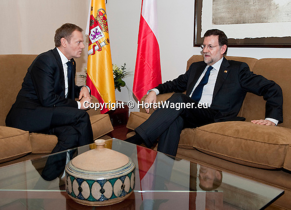Brussels-Belgium - March 01, 2012 -- Mariano RAJOY BREY (ri), Prime Minister of Spain, with Donald TUSK (le), Prime Minister of Poland, during a bilateral meeting -- Photo: © HorstWagner.eu