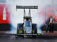 Feb 2, 2018; Chandler, AZ, USA; NHRA top fuel driver Brittany Force during Nitro Spring Training pre season testing at Wild Horse Pass Motorsports Park. Mandatory Credit: Mark J. Rebilas-USA TODAY Sports