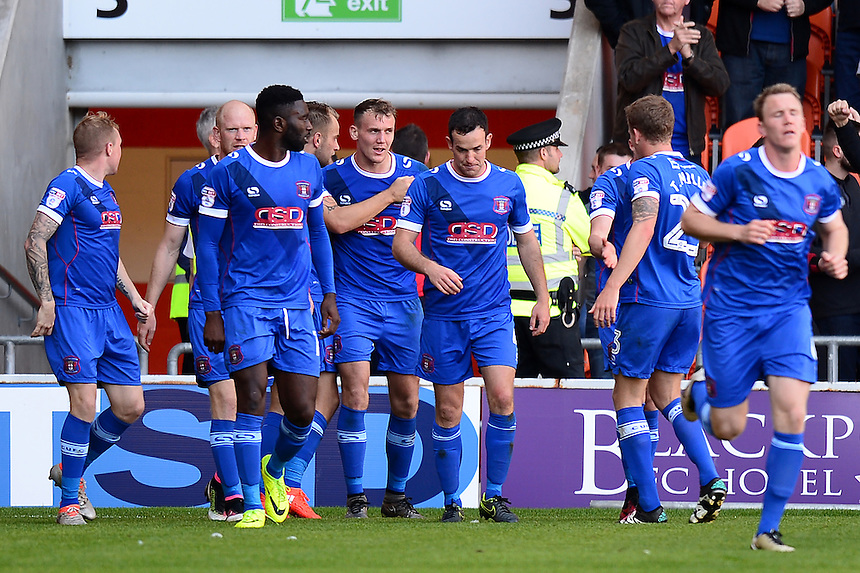 Carlisle United's Charlie Wyke celebrates scoring his side's first goal  <br /> <br /> Photographer Richard Martin-Roberts/CameraSport<br /> <br /> The EFL Sky Bet League Two - Blackpool v Carlisle United - Saturday 17 September 2016 - Bloomfield Road - Blackpool<br /> <br /> World Copyright &copy; 2016 CameraSport. All rights reserved. 43 Linden Ave. Countesthorpe. Leicester. England. LE8 5PG - Tel: +44 (0) 116 277 4147 - admin@camerasport.com - www.camerasport.com