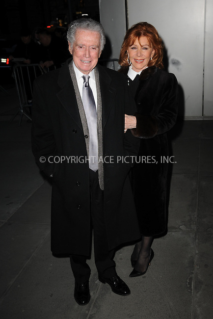 WWW.ACEPIXS.COM<br /> March 22, 2015 New York City<br /> <br /> Regis Philbin and Joy Philbin attending the 'Mad Men' New York Special Screening at The Museum of Modern Art on March 22, 2015 in New York City.<br /> <br /> Please byline: Kristin Callahan/AcePictures<br /> <br /> ACEPIXS.COM<br /> <br /> Tel: (646) 769 0430<br /> e-mail: info@acepixs.com<br /> web: http://www.acepixs.com
