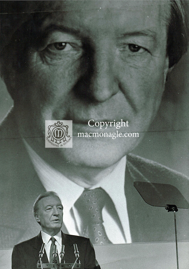 Charles J Haughey at one of his last Ard Fheis in Dublin.. Photo: macmonagle.com archive