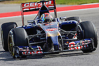 Daniil Kvyat of Scuderia Toro Rosso driving (26) STR9 during 2014 Formula 1 United States Grand Prix race, Sunday, November 02, 2014 in Austin, Tex. (Mo Khursheed/TFV Media via AP Images)