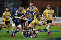Conrad Smith in action during the Super Rugby - Hurricanes v Blues at FMG Stadium, Palmerston North, New Zealand on Friday 13 March 2015. <br /> Photo by Masanori Udagawa. <br /> www.photowellington.photoshelter.com.