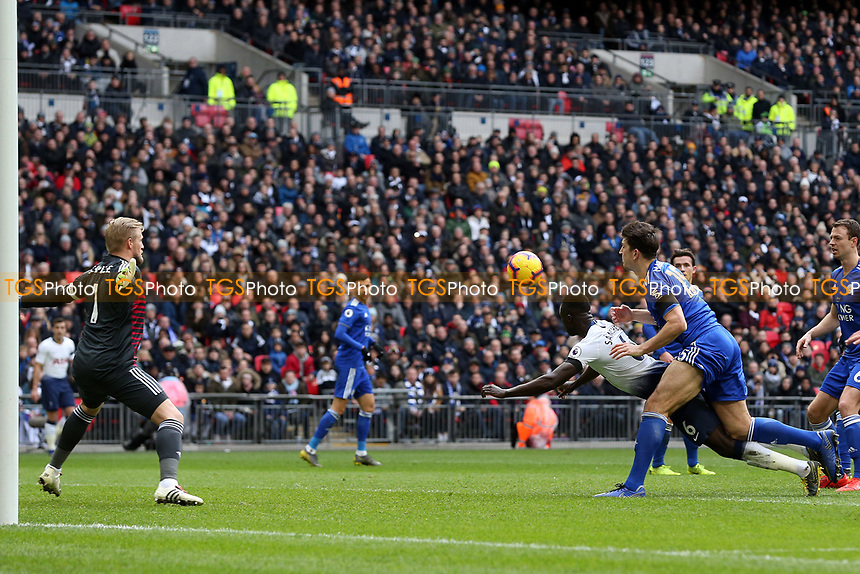 Davinson Sanchez of Tottenham Hotspur scores the first goal during Tottenham Hotspur vs Leicester City, Premier League Football at Wembley Stadium on 10th February 2019