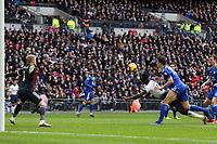 Davinson Sanchez of Tottenham Hotspur scores the first goal during Tottenham Hotspur vs Leicester City, Premier League Football at Wembley Stadium on 10th February 2019