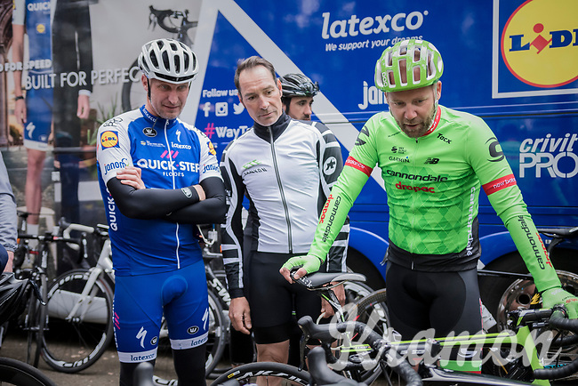 former pro-riders Geert Van Bondt, Erik Zabel & Andreas Klier checking out the bikes at the Tom Boonen farewell race/criterium 'Tom Says Thanks!' in Mol/Belgium