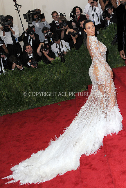 WWW.ACEPIXS.COM<br /> May 4, 2015...New York City<br /> <br /> Kim Kardashian attending the Costume Institute Benefit Gala  celebrating the opening of China: Through the Looking Glass at The Metropolitan Museum of Art on May 4, 2015 in New York City.<br /> <br /> Please byline: Kristin Callahan<br /> ACEPIXS.COM<br /> Tel# 646 769 0430<br /> e-mail: info@acepixs.com<br /> web: http://www.acepixs.com