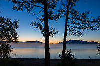 Morning dawn over Naknek lake, Kejulik mountains, Katmai National Park, Alaska.