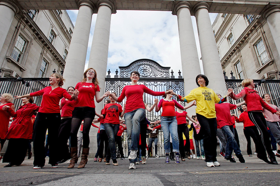 17/9/2010.  NATIONAL DAY OF ACTION FOR ARTS AND CULTURE. Dancers perform a 3 minute dance, to the music of The Horslips, outside the Department of An Toaiseach, Dublin. Picture James Horan/Collins Photos