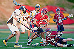 Mission Viejo, CA 05/11/11 - Chance Cooper (Foothill-Santa Ana #19), Will Ross (Foothill-Santa Ana #25), Hunter Edington (St Margaret #8) and Chris Bauer (St Margaret #15) in action during the St Margaret-Foothill boys varsity lacrosse game at Mission Viejo High School for the 2011 CIF Southern Section South Division Championship.  Foothill defeated St Margaret 15-10.