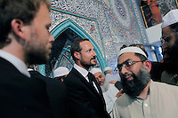 (Oslo July 26, 2011)  Crown Price Haakon visiting the mosque World Islamic Mission in Oslo...A large vehicle bomb was detonated near the offices of Norwegian Prime Minister Jens Stoltenberg on 22 July 2011. .Another terrorist attack took place shortly afterwards, where a man killed 68 people, mainly children and youths attending a political camp at Utøya island. ..Anders Behring Breivik was arrested on the island and has admitted to carrying out both attacks..(photo:Fredrik Naumann/Felix Features)