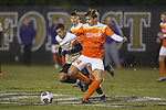 Alexander Hemmingsen (24) of the Clemson Tigers battles for the ball with Steven Echevarria (15) of the Wake Forest Demon Deacons during second half action at Spry Soccer Stadium on November 8, 2017 in Winston-Salem, North Carolina.  The Demon Deacons defeated the Tigers 2-1.  (Brian Westerholt/Sports On Film)