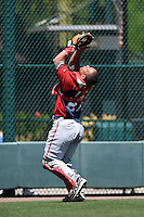 Washington Nationals catcher Adderling Ruiz (27) during a minor league spring training game against the Atlanta Braves on March 26, 2014 at Wide World of Sports in Orlando, Florida.  (Mike Janes/Four Seam Images)