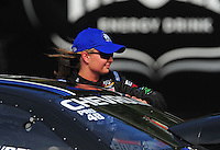Jun. 19, 2011; Bristol, TN, USA: NHRA pro stock driver Erica Enders during eliminations at the Thunder Valley Nationals at Bristol Dragway. Mandatory Credit: Mark J. Rebilas-
