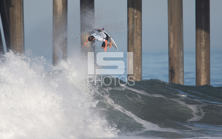 Huntington Beach, CA - Thursday August 03, 2017: Billy Stairmand during a World Surf League (WSL) Qualifying Series (QS) second round heat in the 2017 Vans US Open of Surfing on the South side of the Huntington Beach pier.