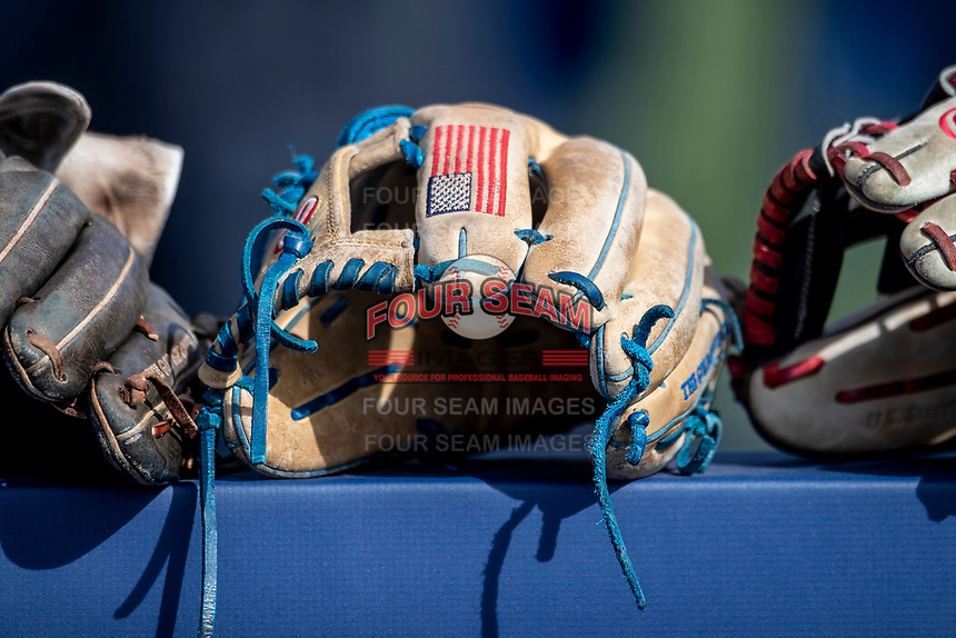 Rawlings baseball glove on March 27, 2019 in Game 1 of the NCAA baseball doubleheader at Ray Fisher Stadium in Ann Arbor, Michigan. Michigan defeated San Jose State 1-0. (Andrew Woolley/Four Seam Images)