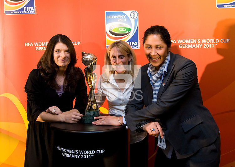 Mia Hamm, Kristine Lilly, Steffi Jones. Various speakers took the stage at the FIFA Women's World Cup 2011 promotional tour at the Westin Grand in Washington, DC...