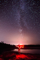 A light painting of the Upper Peninsula of MI with the Milky Way as the backdrop. Marquette, MI