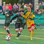 15 November 2015: University of Vermont Catamount Forward Elliot Maker, a Junior from Naples, Maine, in action against the Binghamton University Bearcats at Virtue Field in Burlington, Vermont. The Catamounts shut out the Bearcats 1-0 in the America East Championship Game. Mandatory Credit: Ed Wolfstein Photo *** RAW (NEF) Image File Available ***