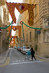 Street scene.  Valletta, Malta's capital, is a UNESCO World Heritage Site, a city of Baroque architecture left by the Knights of St. John five centuries ago.