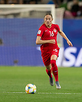 GRENOBLE, FRANCE - JUNE 15: Janine Beckie #16 of the Canadian National Team brings the ball forward during a game between New Zealand and Canada at Stade des Alpes on June 15, 2019 in Grenoble, France.