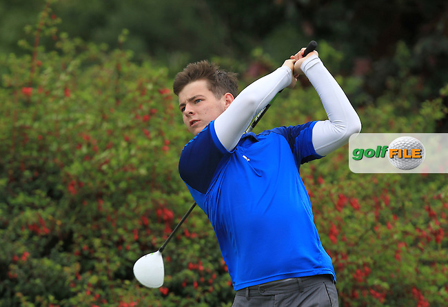 Bill Hannon (Carton House) on the 14th tee during R2 of the 2016 Connacht U18 Boys Open, played at Galway Golf Club, Galway, Galway, Ireland. 06/07/2016. <br /> Picture: Thos Caffrey | Golffile<br /> <br /> All photos usage must carry mandatory copyright credit   (&copy; Golffile | Thos Caffrey)