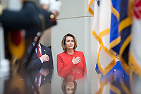 United States House Minority Leader Nancy Pelosi (Democrat of California), stands at attention as the United States National Anthem is played during a ceremony dedicating a chair in the United States Capitol Building to honor United States soldiers labeled as 'Prisoners of War' or 'Missing in Action' at the United States Capitol Building in Washington, D.C. on November 8th, 2017. <br /> Credit: Alex Edelman / CNP /MediaPunch