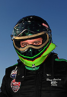 Feb. 10, 2012; Pomona, CA, USA; NHRA top alcohol funny car driver Doug Gordon during qualifying at the Winternationals at Auto Club Raceway at Pomona. Mandatory Credit: Mark J. Rebilas-