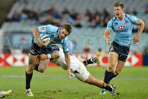 18.05.2013 Sydney, Australia. Waratahs fly half Bernard Foley in action during the  Super Rugby game between the HSBC Waratahs  and the Brumbies at the Allianz Stadium, Sydney..Waratahs won 28-22.