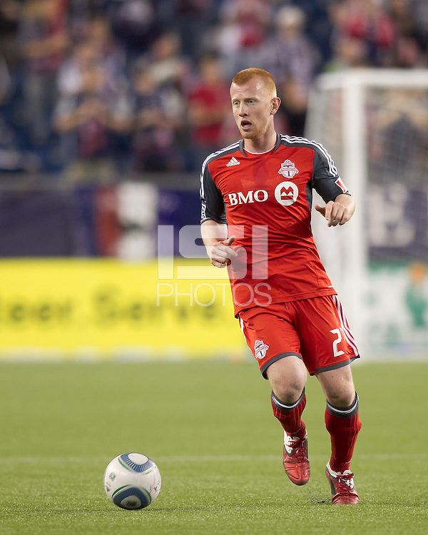 Toronto FC defender Richard Eckersley (27) at midfield. In a Major League Soccer (MLS) match, the New England Revolution tied Toronto FC, 0-0, at Gillette Stadium on June 15, 2011.