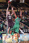 Lehigh Mountain Hawks forward Gabe Knutson (42) and North Texas Mean Green guard Roger Franklin (32) in action during the game between the Lehigh Mountain Hawks and the North Texas Mean Green at the Super Pit arena in Denton, Texas. Lehigh defeats UNT 90 to 75...
