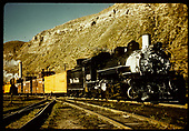 #499 K-37 at Durango with 3 cabooses.<br /> D&amp;RGW  Durango, CO