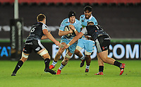 Glasgow Warriors' Scott Cummings takes on Ospreys' Olly Cracknell and Rhodri Jones<br /> <br /> Photographer Kevin Barnes/CameraSport<br /> <br /> Guinness Pro14 Round 8 - Ospreys v Glasgow Warriors - Friday 2nd November 2018 - Liberty Stadium - Swansea<br /> <br /> World Copyright &copy; 2018 CameraSport. All rights reserved. 43 Linden Ave. Countesthorpe. Leicester. England. LE8 5PG - Tel: +44 (0) 116 277 4147 - admin@camerasport.com - www.camerasport.com