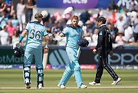 Jonny Bairstow (England) is congratulated by Joe Root (England) on his century during England vs New Zealand, ICC World Cup Cricket at The Riverside Ground on 3rd July 2019