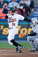 Shortstop Chris Amador (18) of the Frederick Keys follows through on his swing versus the Salem Avalanche at Harry Grove Stadium in Frederick, MD, Tuesday, April 15, 2008.