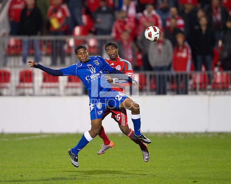 19 October 2010: Toronto FC Doneil Henry #36 and Arabe Unido Felix Gondola #26 in action during a CONCACAF game between Arabe Unido and Toronto FC at BMO Field in Toronto..