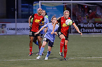 Rochester, NY - Saturday May 21, 2016: Western New York Flash forward Makenzy Doniak (3) and Sky Blue FC defender Kelley O'Hara (19). The Western New York Flash defeated Sky Blue FC 5-2 during a regular season National Women's Soccer League (NWSL) match at Sahlen's Stadium.